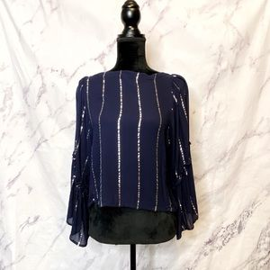 Anthropologie Floreat Blue Stripe Bell Sleeve Top